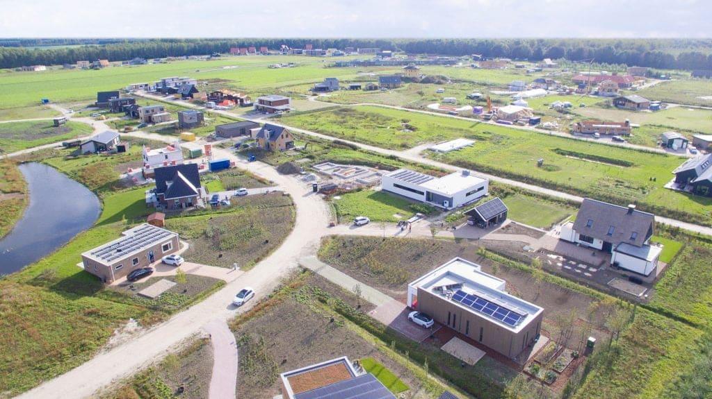 Bovenaanzicht van de Almeerse woonwijk Oosterwold